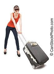 mujer hermosa, dinero, proceso de llevar, joven, aislado, mientras, lleno, rico, maleta, woman., blanco