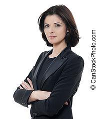 mujer hermosa, empresa / negocio, aislado, brazos, serio, estudio, plano de fondo, retrato, cruzado, blanco, uno, caucásico