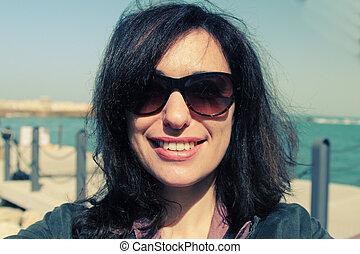 mujer hermosa, viejo, selfie, 35, años, retrato