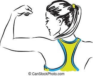 mujer, illustra, condición física