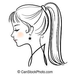 mujer, ilustración, cara, vector, hermoso