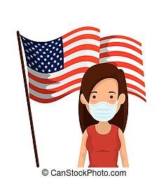 mujer, joven, estados unidos de américa, máscara, cara, bandera