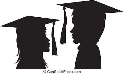 mujer, joven, graduados, hombre
