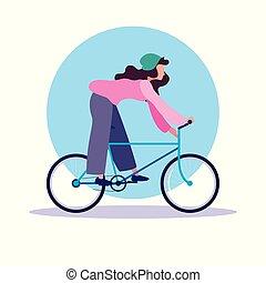 Mujer joven montando en bicicleta personaje avatar