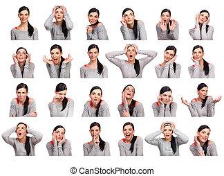 Mujer joven mostrando varias expresiones, aislada