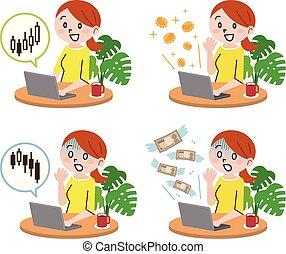 Mujer joven, tecnología y concepto de dinero