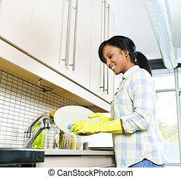 mujer, lavado, joven, platos