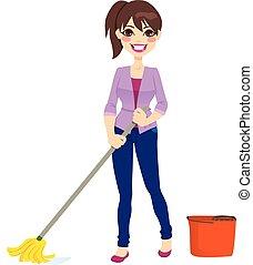 Mujer limpiando piso