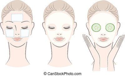 mujer, máscara, cara, hermoso