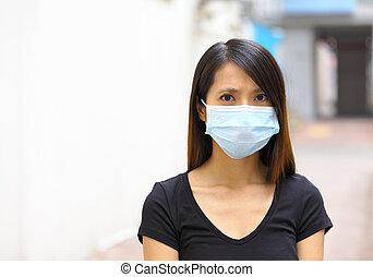 mujer, máscara, cara, protector, asiático, uso