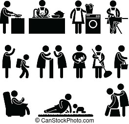 Mujer madre rutina diaria