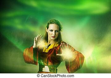 mujer, magic., duende, joven, bruja, elaboración, o