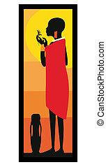 Mujer Masai de pie-vector