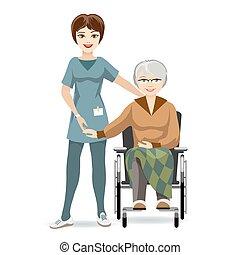Mujer mayor en silla de ruedas y enfermera