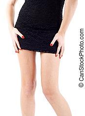 mujer, mini falda