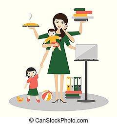 Mujer multitarea. Madre, mujer de negocios con bebé, niño mayor, trabajando, coqueteando y llamando.