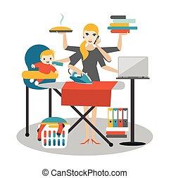 Mujer multitarea. Madre, mujer de negocios con el bebé, planchando, trabajando, molestando y llamando.