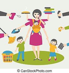 Mujer multitarea. Madre, mujer de negocios con niños y bab yin sling, planchando, trabajando, coocking y llamando.