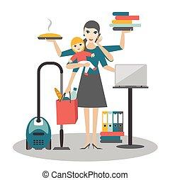 Mujer multitarea. Madre, mujer de negocios con trabajo de bebé, coocking y llamando.