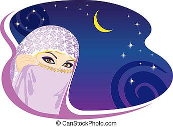Mujer musulmana y noche árabe.