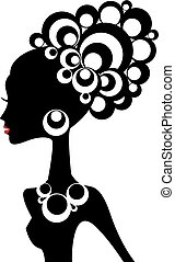 mujer negra, vector