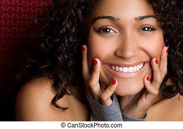 mujer, negro, reír