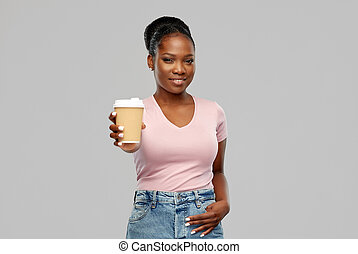 mujer, norteamericano, café, bebida, feliz, africano