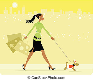 Mujer ocupada comprando perro andante