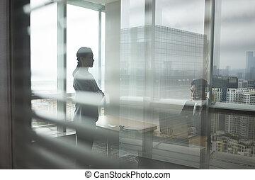mujer, oficina, empresa / negocio, hombre asiático, hablar