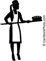 Mujer panadero con pan