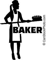 Mujer panadero con título de trabajo