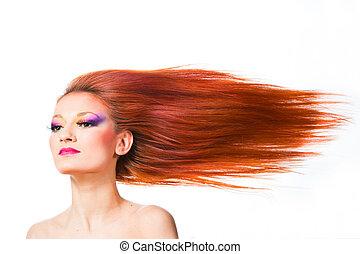 mujer, pelo largo, rojo, ondear, viento