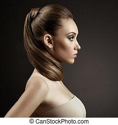 mujer, pelo, portrait., marrón, largo, hermoso