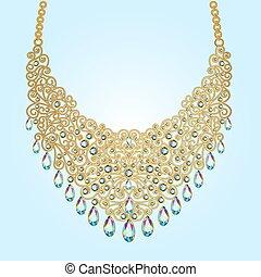 mujer, piedras preciosas, collar, cuentas, ilustración