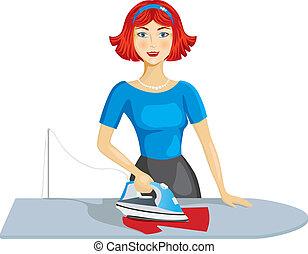 Mujer planchando ropa