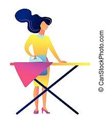 Mujer planchando ropa ilustrando vectores.