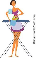 Mujer planchando ropa.