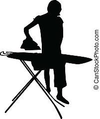 Mujer planchando vector de silueta