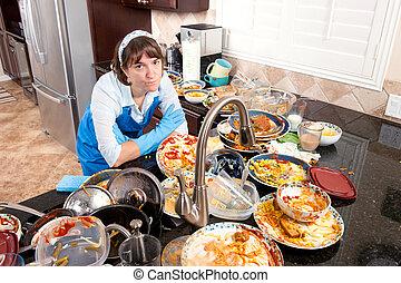 mujer, platos