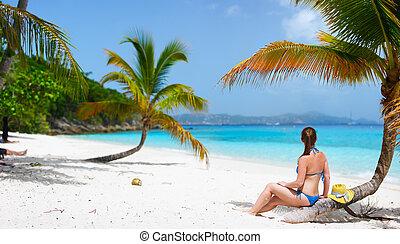 mujer, playa, joven, relajante