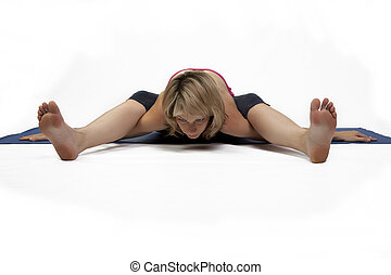 mujer, practica, yoga