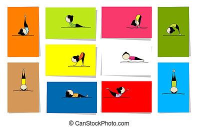 Mujer practicando yoga, 10 cartas para tu diseño