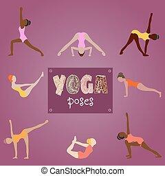 Mujer practicando yoga para el diseño. S