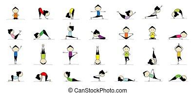mujer, practicar, yoga, 25, su, posturas, diseño