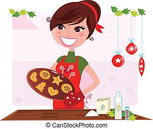 Mujer preparando galletas de Navidad
