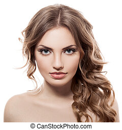 mujer, primer plano, ojos, azul, joven, retrato, caucásico, hermoso