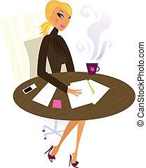 mujer profesional, trabajo, oficina