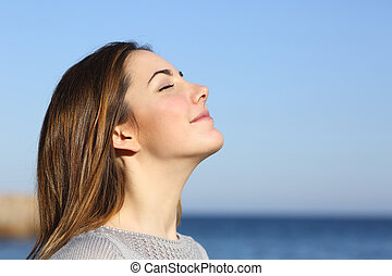 mujer, profundo, aire, respiración, fresco, retrato, playa