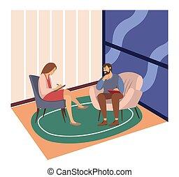 mujer, psicoterapeuta, psychotherapies., pacientes, recepción, hablar, respuesta, preguntas