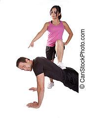 mujer, pushups, hombre, mandón